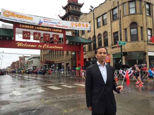 4劉軍代總領事親臨中國城賽段 為中國選手打氣